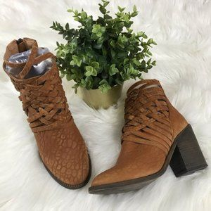 Free People Carrera Leather Woven Booties Sz 7/37